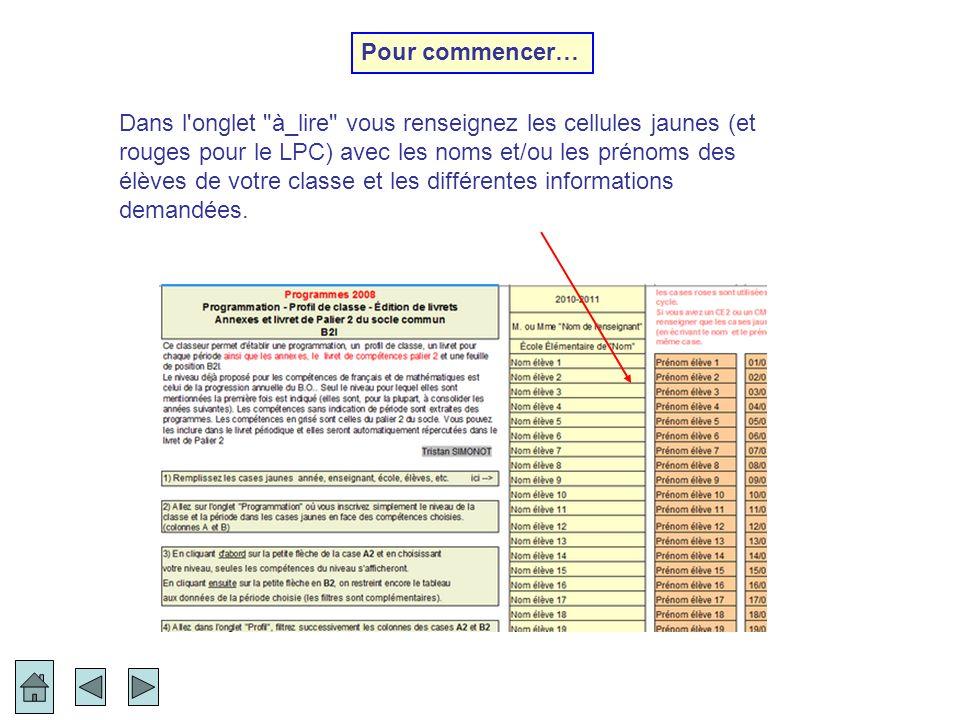 La gestion du B2I n a pas été ajoutée aux classeurs des 2 autres cycles pour ne pas les alourdir, mais il est possible de renseigner les compétences B2I des 3 cycles de manière autonome en téléchargeant les classeurs indépendants dans la rubrique TICE B2I sur http://surrenden.fr/tice ).http://surrenden.fr/tice GESTION DU B2I FIN