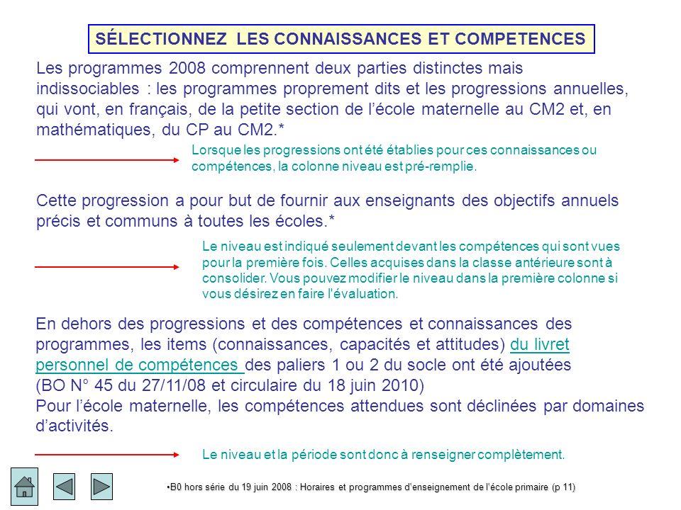 Livret personnel de compétences Nouveauté 2010 L annexe 2 qui permettait de renseigner par oui ou par non l acquisition des items et des compétences du socle commun est remplacée par le Livret Personnel de Compétences.