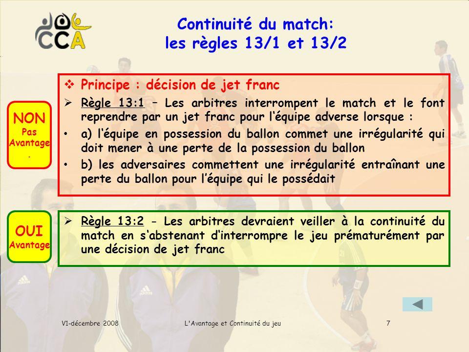 Continuité du match: les règles 13/1 et 13/2 L Avantage et Continuité du jeuV1-décembre 2008 NON Pas Avantage.