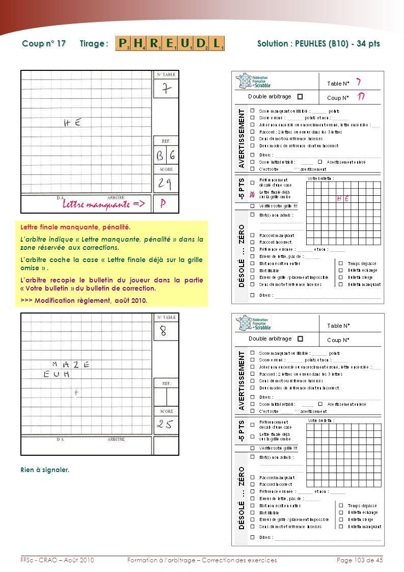 Page 103 de 45FFSc - CRAO – Août 2010Formation à larbitrage – Correction des exercices Coup n° Tirage : Solution : PEUHLES (B10) - 34 pts 17 7 Rien à