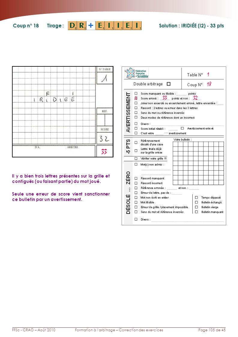 Page 105 de 45FFSc - CRAO – Août 2010Formation à larbitrage – Correction des exercices Coup n° Tirage : 18 Il y a bien trois lettres présentes sur la grille et contiguës (ou faisant partie) du mot joué.