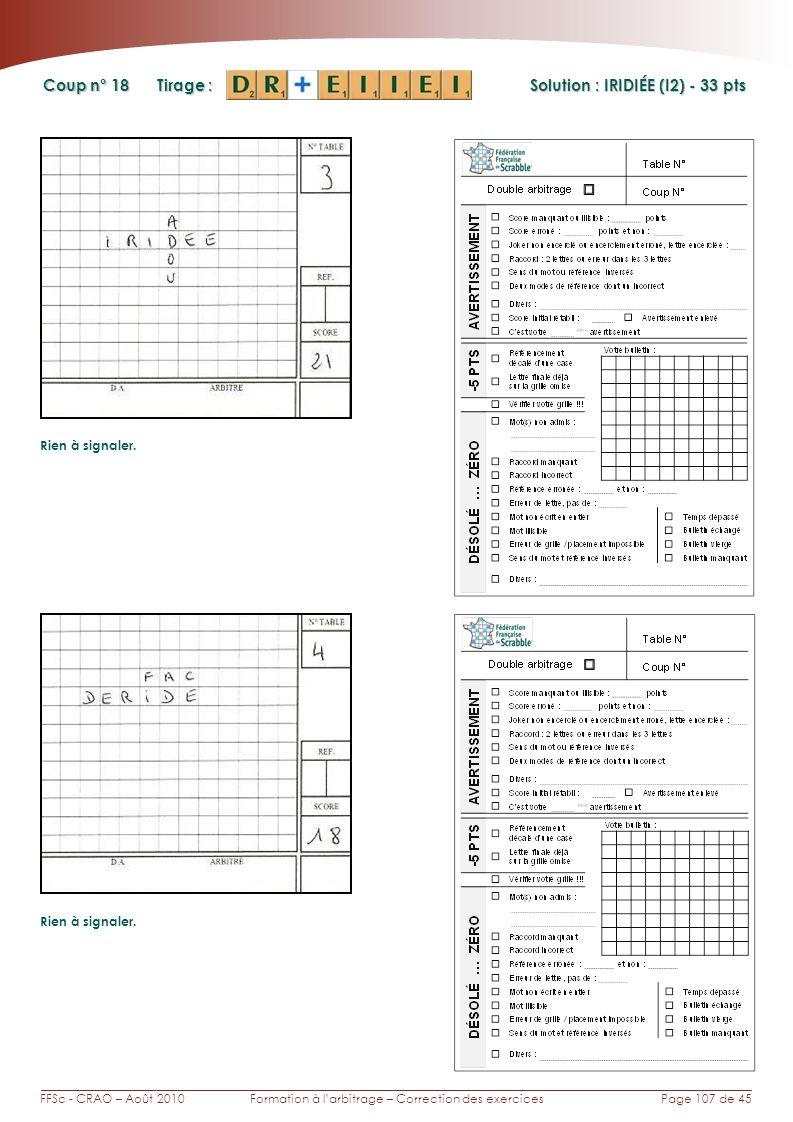 Page 107 de 45FFSc - CRAO – Août 2010Formation à larbitrage – Correction des exercices Coup n° Tirage : Solution : IRIDIÉE (I2) - 33 pts Rien à signaler.