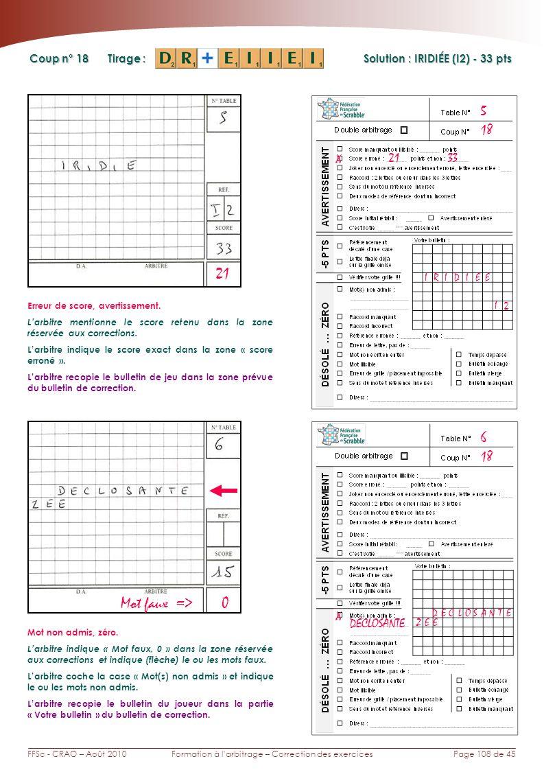Page 108 de 45FFSc - CRAO – Août 2010Formation à larbitrage – Correction des exercices Coup n° Tirage : Solution : IRIDIÉE (I2) - 33 pts 18 5 6 21 X 33 IRID Erreur de score, avertissement.