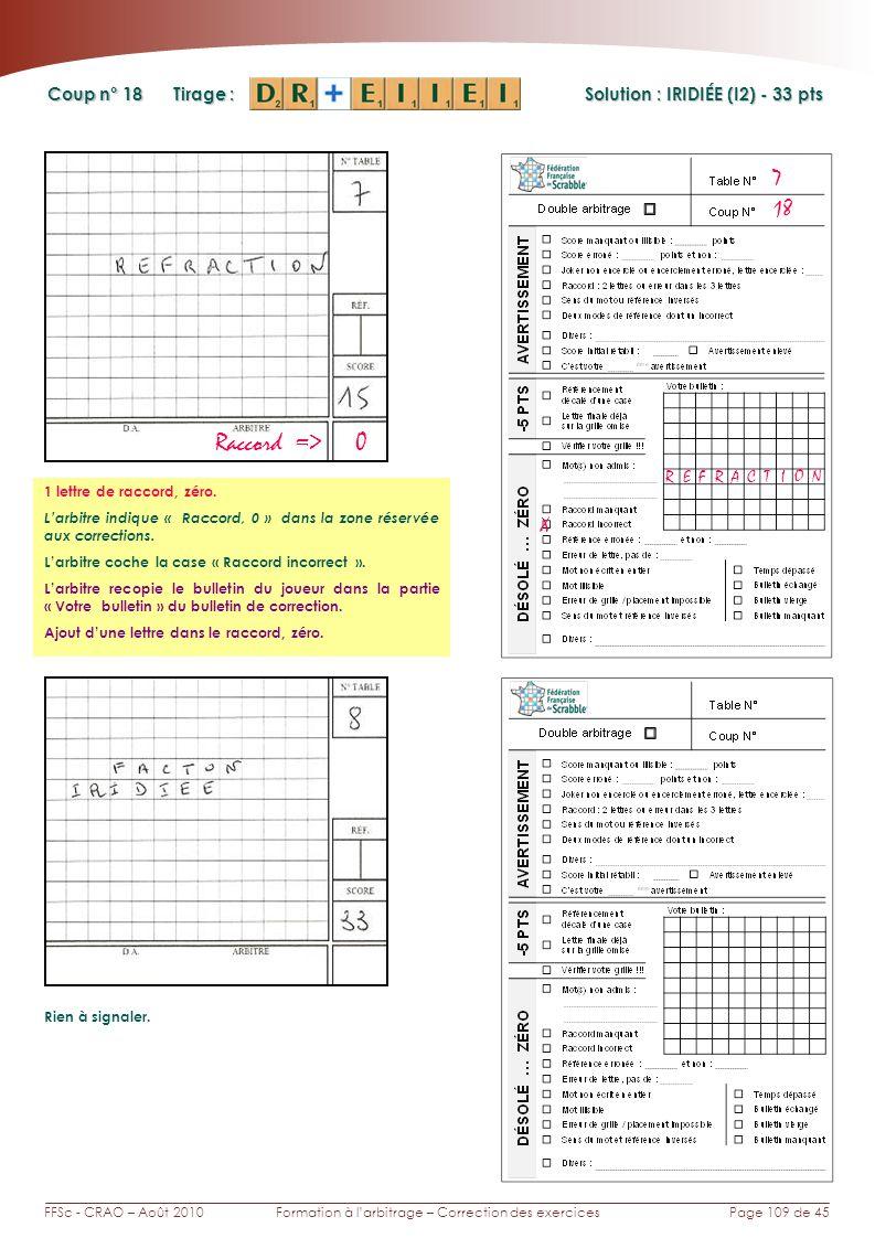 Page 109 de 45FFSc - CRAO – Août 2010Formation à larbitrage – Correction des exercices Coup n° Tirage : Solution : IRIDIÉE (I2) - 33 pts 18 7 X Raccor