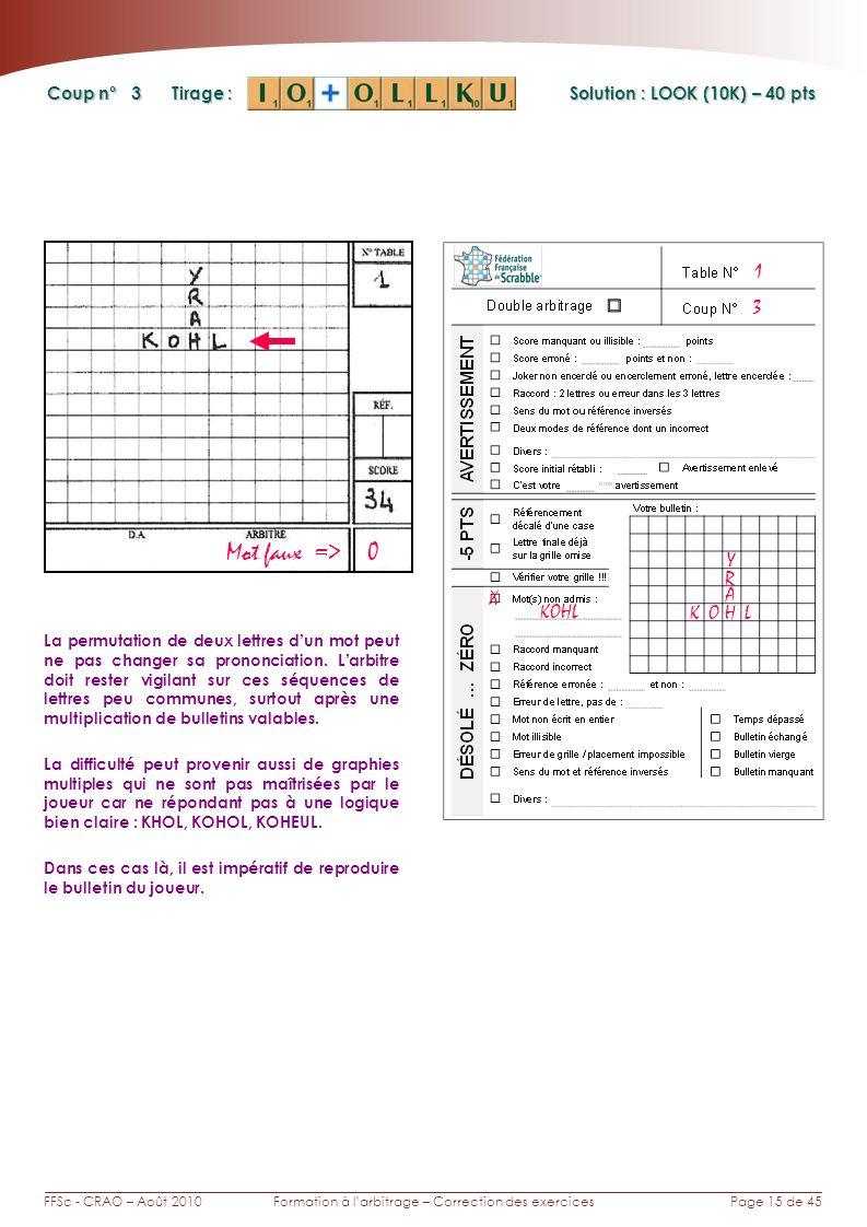 Page 15 de 45FFSc - CRAO – Août 2010Formation à larbitrage – Correction des exercices Coup n° Tirage : 3 La permutation de deux lettres dun mot peut n