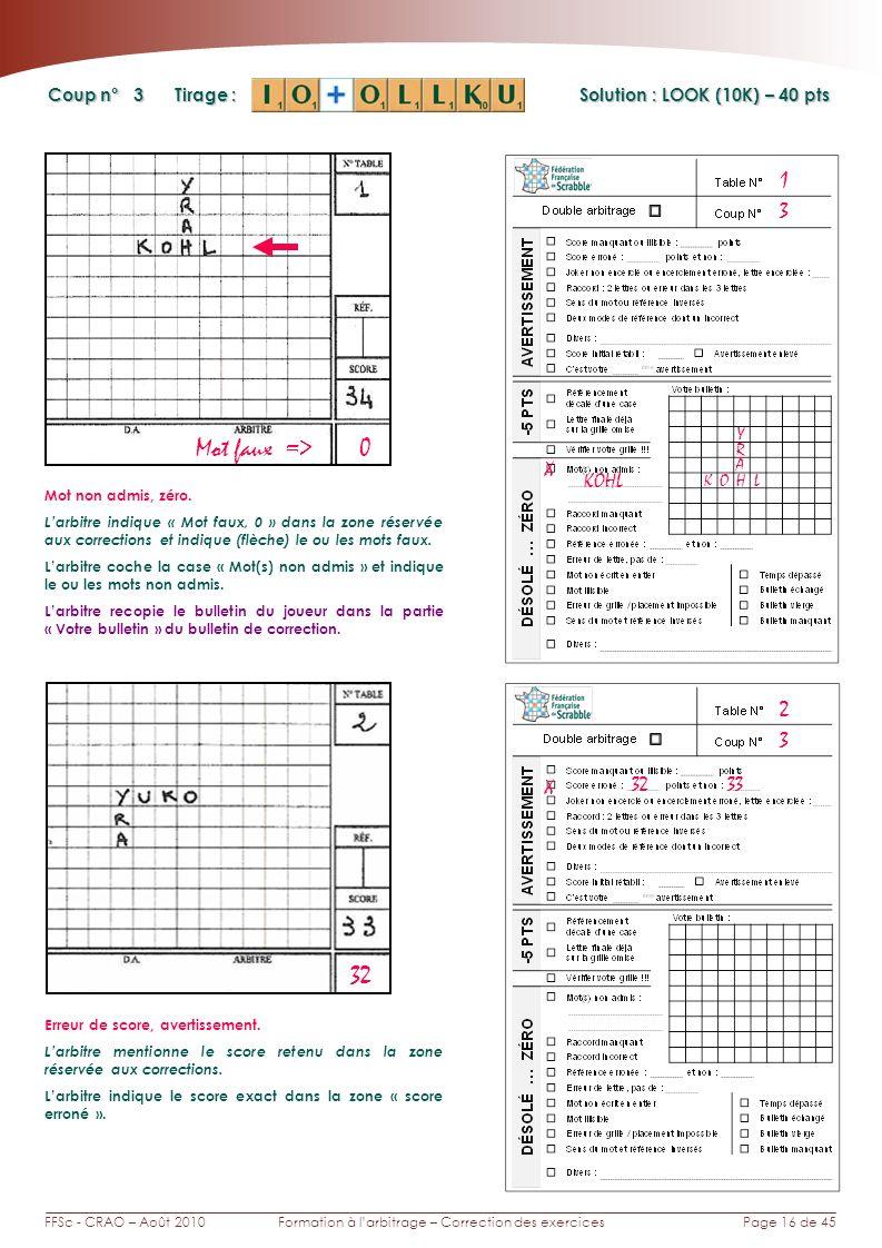 Page 16 de 45FFSc - CRAO – Août 2010Formation à larbitrage – Correction des exercices Coup n° Tirage : 3 1 X KOHL Y KOHL A R Solution : LOOK (10K) – 40 pts Mot faux => 0 32 Mot non admis, zéro.