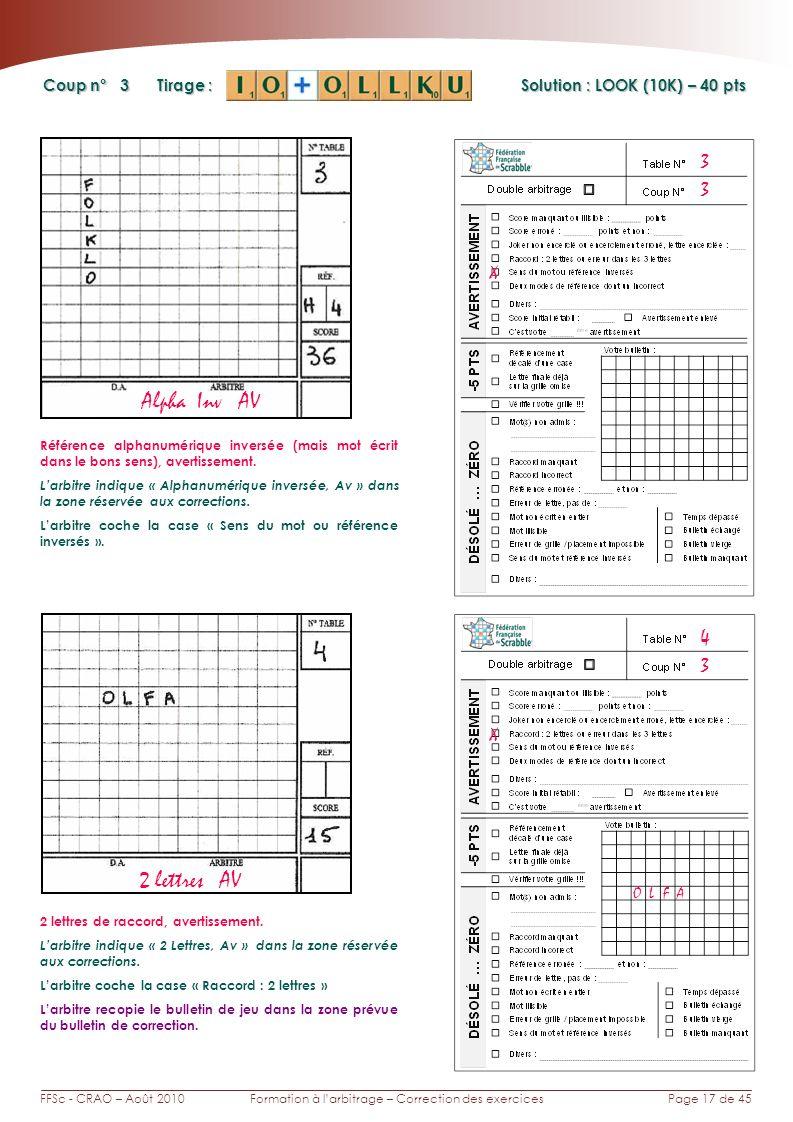 Page 17 de 45FFSc - CRAO – Août 2010Formation à larbitrage – Correction des exercices Coup n° Tirage : 3 3 X Solution : LOOK (10K) – 40 pts Alpha Inv