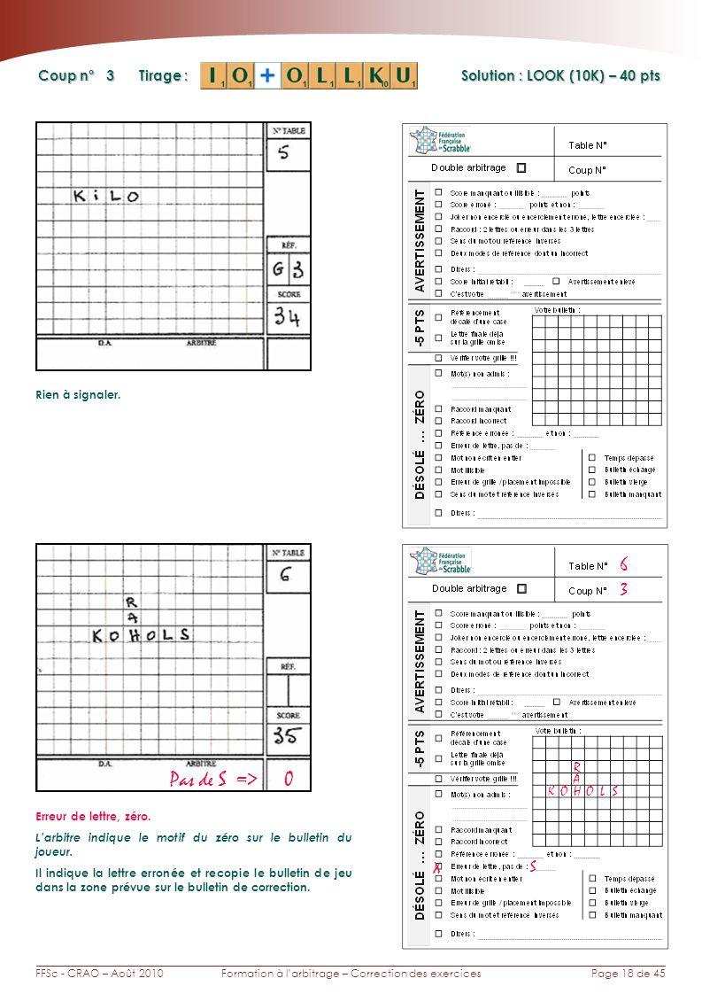 Page 18 de 45FFSc - CRAO – Août 2010Formation à larbitrage – Correction des exercices Coup n° Tirage : 3 6 Solution : LOOK (10K) – 40 pts Pas de S => 0 Rien à signaler.