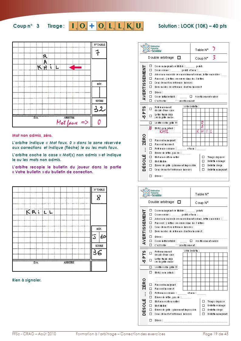 Page 19 de 45FFSc - CRAO – Août 2010Formation à larbitrage – Correction des exercices Coup n° Tirage : Solution : LOOK (10K) – 40 pts 3 7 Mot faux => 0 Rien à signaler.