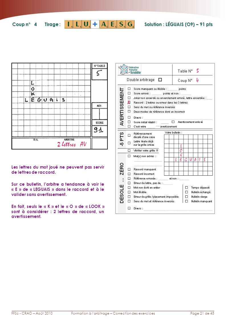 Page 21 de 45FFSc - CRAO – Août 2010Formation à larbitrage – Correction des exercices Coup n° Tirage : 4 Les lettres du mot joué ne peuvent pas servir de lettres de raccord.
