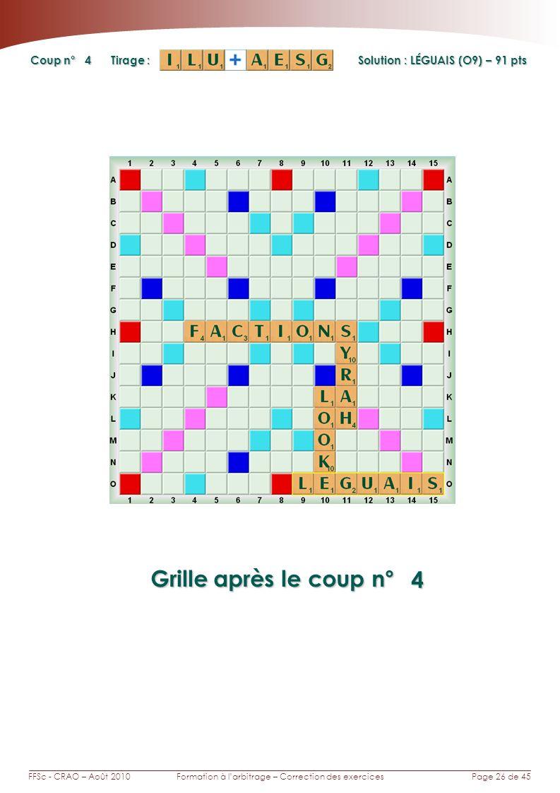 Page 26 de 45FFSc - CRAO – Août 2010Formation à larbitrage – Correction des exercices Coup n° Tirage : Grille après le coup n° 4 4 Solution : LÉGUAIS (O9) – 91 pts