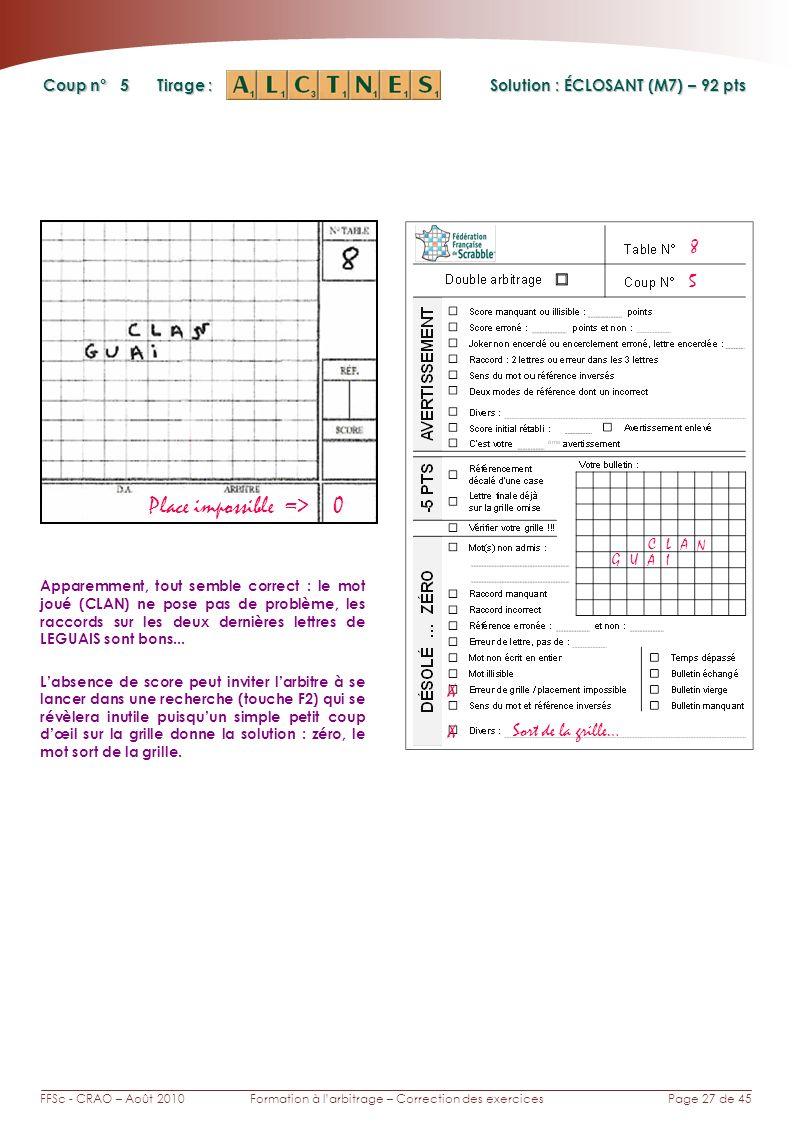 Page 27 de 45FFSc - CRAO – Août 2010Formation à larbitrage – Correction des exercices Coup n° Tirage : 5 Apparemment, tout semble correct : le mot jou