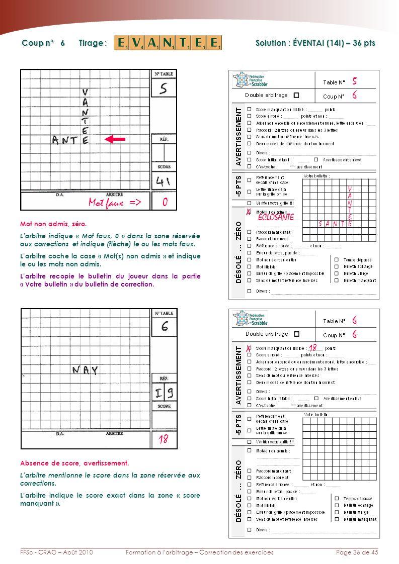 Page 36 de 45FFSc - CRAO – Août 2010Formation à larbitrage – Correction des exercices Coup n° Tirage : 6 5 Solution : ÉVENTAI (14I) – 36 pts 6 6 18 Mot faux => 0 X ECLOSANTE SAN E A Mot non admis, zéro.