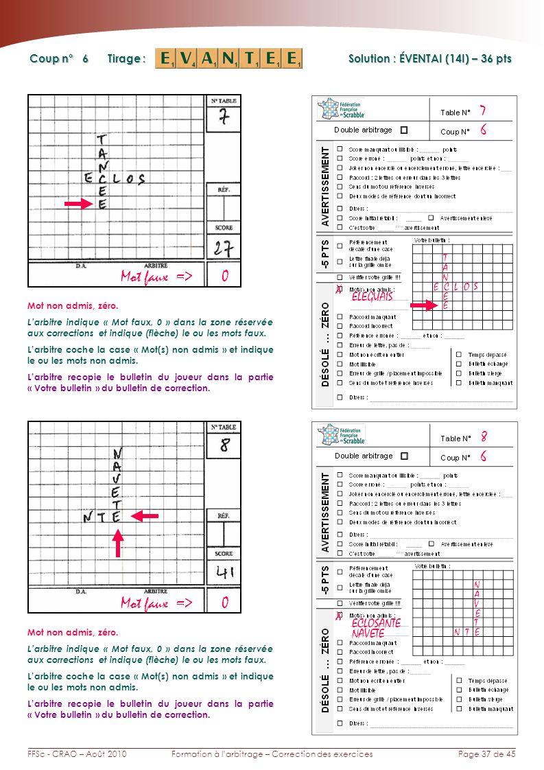 Page 37 de 45FFSc - CRAO – Août 2010Formation à larbitrage – Correction des exercices Coup n° Tirage : 6 7 Solution : ÉVENTAI (14I) – 36 pts 6 8 Mot faux => 0 X ELEGUAIS S OL E A Mot non admis, zéro.