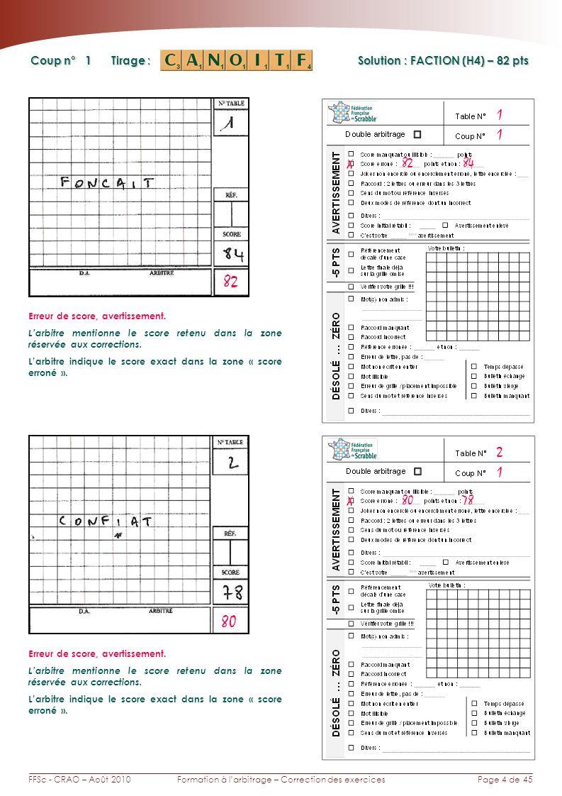 Page 4 de 45FFSc - CRAO – Août 2010Formation à larbitrage – Correction des exercices Coup n° Tirage : 1 1 X 82 84 1 2 82 Erreur de score, avertissemen
