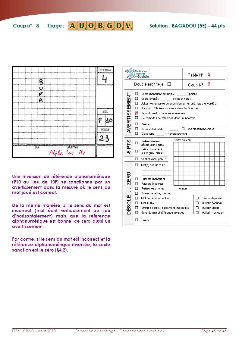 Page 45 de 45FFSc - CRAO – Août 2010Formation à larbitrage – Correction des exercices Coup n° Tirage : 8 Une inversion de référence alphanumérique (F10 au lieu de 10F) se sanctionne par un avertissement dans la mesure où le sens du mot joué est correct.