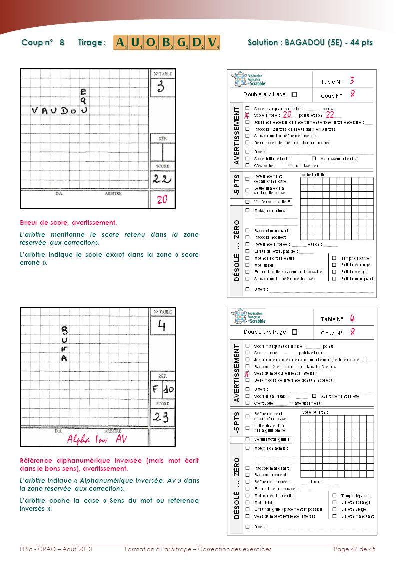 Page 47 de 45FFSc - CRAO – Août 2010Formation à larbitrage – Correction des exercices Coup n° Tirage : 8 3 Solution : BAGADOU (5E) - 44 pts 8 4 20 Alp