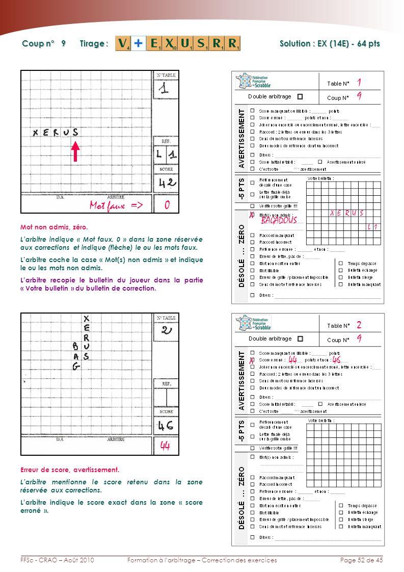 Page 52 de 45FFSc - CRAO – Août 2010Formation à larbitrage – Correction des exercices Coup n° Tirage : 9 1 Solution : EX (14E) - 64 pts 9 2 44 Mot faux => 0 X BAGADOUS SU X Mot non admis, zéro.