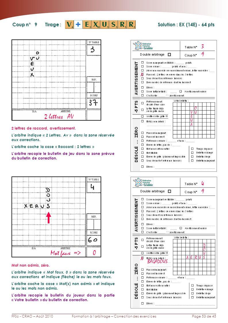 Page 53 de 45FFSc - CRAO – Août 2010Formation à larbitrage – Correction des exercices Coup n° Tirage : 9 3 Solution : EX (14E) - 64 pts 9 4 Mot faux => 0 X BAGADOUS SU X Mot non admis, zéro.