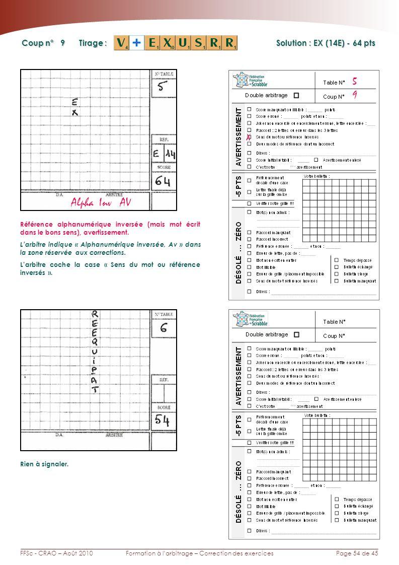 Page 54 de 45FFSc - CRAO – Août 2010Formation à larbitrage – Correction des exercices Coup n° Tirage : 9 5 Solution : EX (14E) - 64 pts Alpha Inv AV X