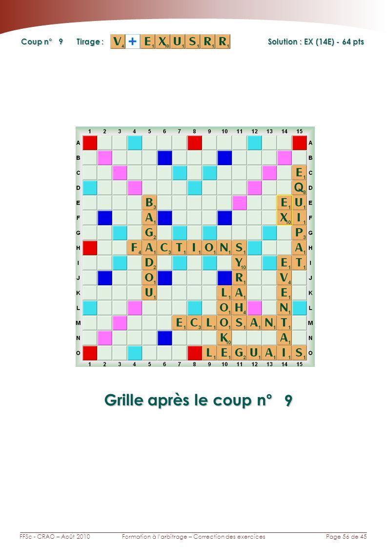 Page 56 de 45FFSc - CRAO – Août 2010Formation à larbitrage – Correction des exercices Coup n° Tirage : Grille après le coup n° Solution : EX (14E) - 6