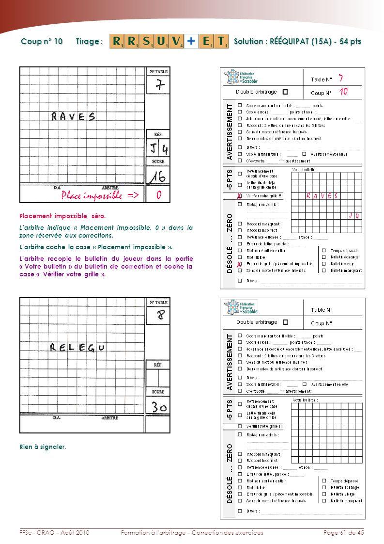 Page 61 de 45FFSc - CRAO – Août 2010Formation à larbitrage – Correction des exercices Coup n° Tirage : 10 7 Solution : RÉÉQUIPAT (15A) - 54 pts Place