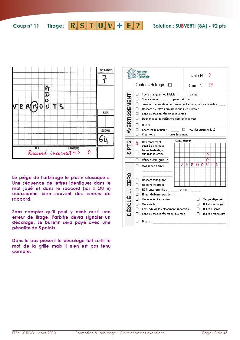 Page 63 de 45FFSc - CRAO – Août 2010Formation à larbitrage – Correction des exercices Coup n° Tirage : 11 Le piège de larbitrage le plus « classique »