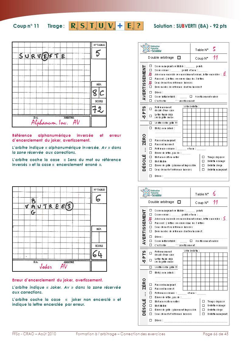 Page 66 de 45FFSc - CRAO – Août 2010Formation à larbitrage – Correction des exercices Coup n° Tirage : Solution : SUBVERTI (8A) - 92 pts 11 6 5 Alphanum.