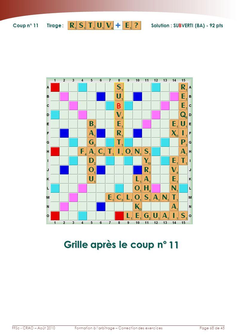 Page 68 de 45FFSc - CRAO – Août 2010Formation à larbitrage – Correction des exercices Coup n° Tirage : Grille après le coup n° Solution : SUBVERTI (8A