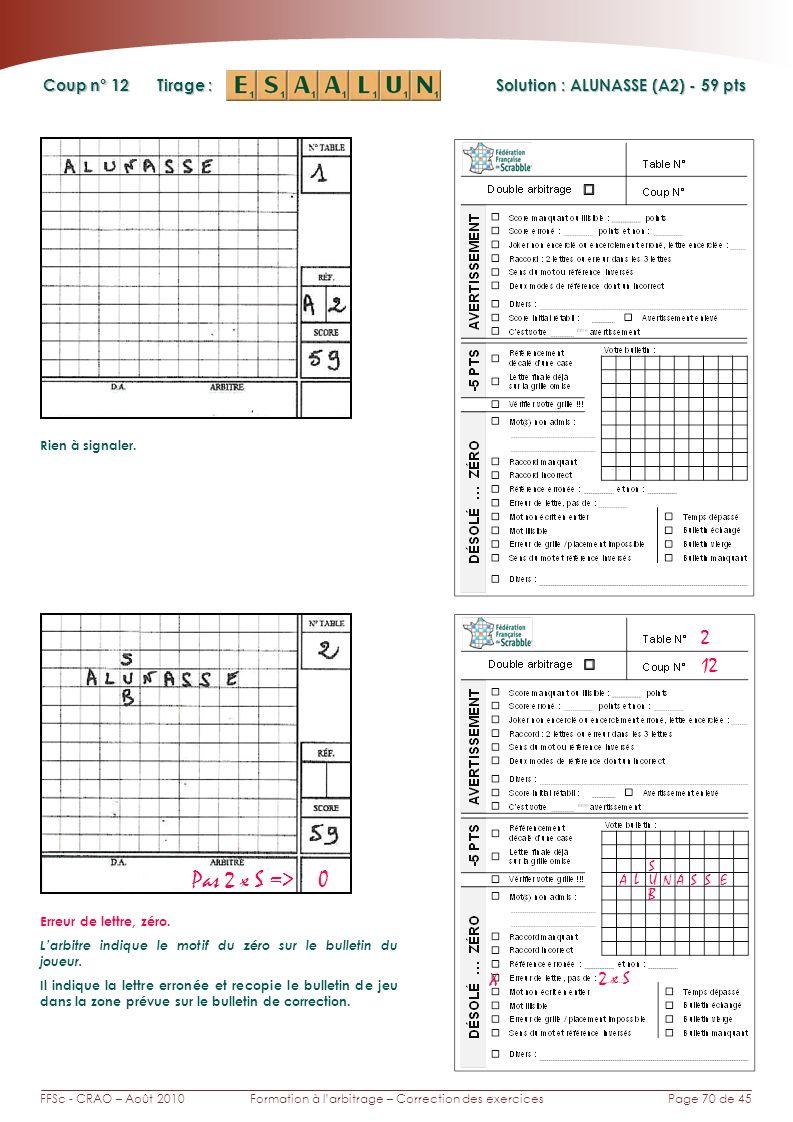 Page 70 de 45FFSc - CRAO – Août 2010Formation à larbitrage – Correction des exercices Coup n° Tirage : Solution : ALUNASSE (A2) - 59 pts 12 2 Pas 2 x S => 0 Rien à signaler.