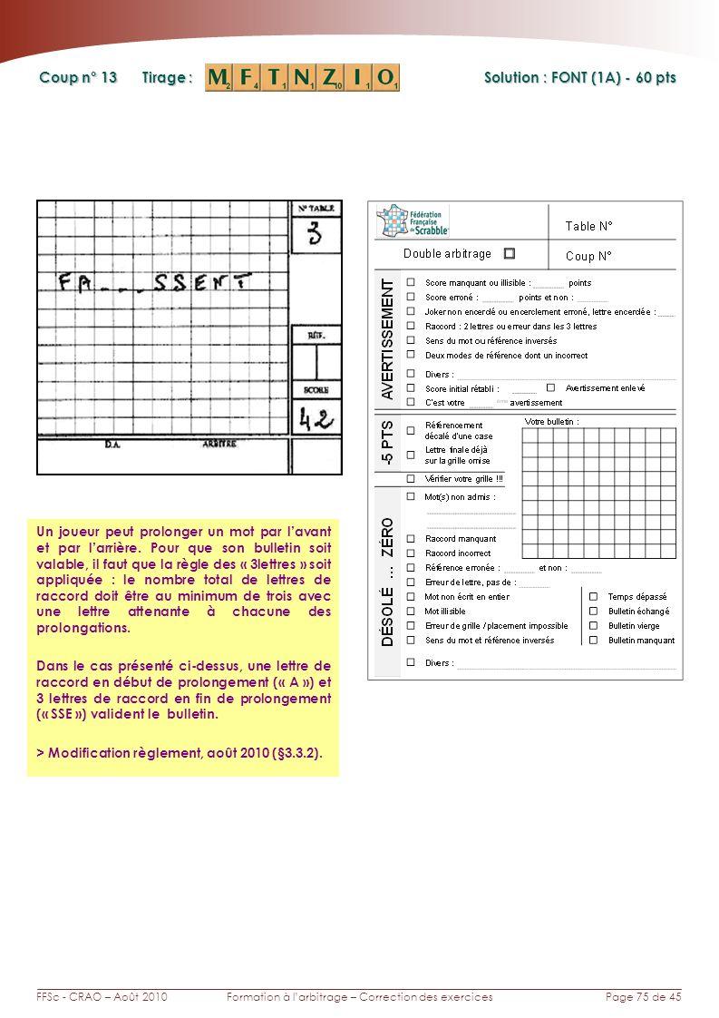 Page 75 de 45FFSc - CRAO – Août 2010Formation à larbitrage – Correction des exercices Coup n° Tirage : 13 Un joueur peut prolonger un mot par lavant et par larrière.