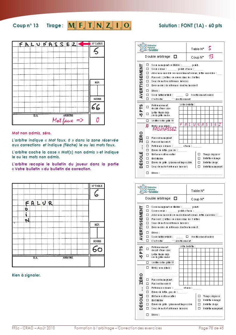Page 78 de 45FFSc - CRAO – Août 2010Formation à larbitrage – Correction des exercices Coup n° Tirage : Solution : FONT (1A) - 60 pts 13 5 Mot faux =>