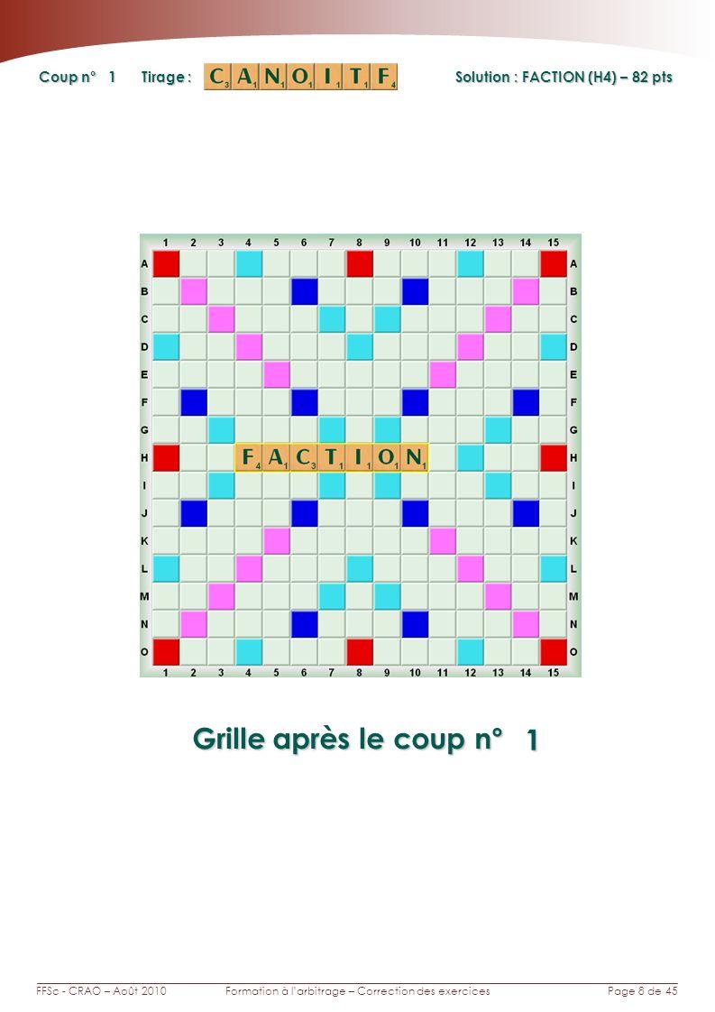 Page 8 de 45FFSc - CRAO – Août 2010Formation à larbitrage – Correction des exercices Coup n° Tirage : Grille après le coup n° 1 1 Solution : FACTION (H4) – 82 pts