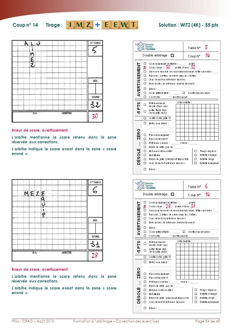 Page 84 de 45FFSc - CRAO – Août 2010Formation à larbitrage – Correction des exercices Coup n° Tirage : Solution : WITZ (4K) - 55 pts 14 6 5 30 28 X 30 32 Erreur de score, avertissement.