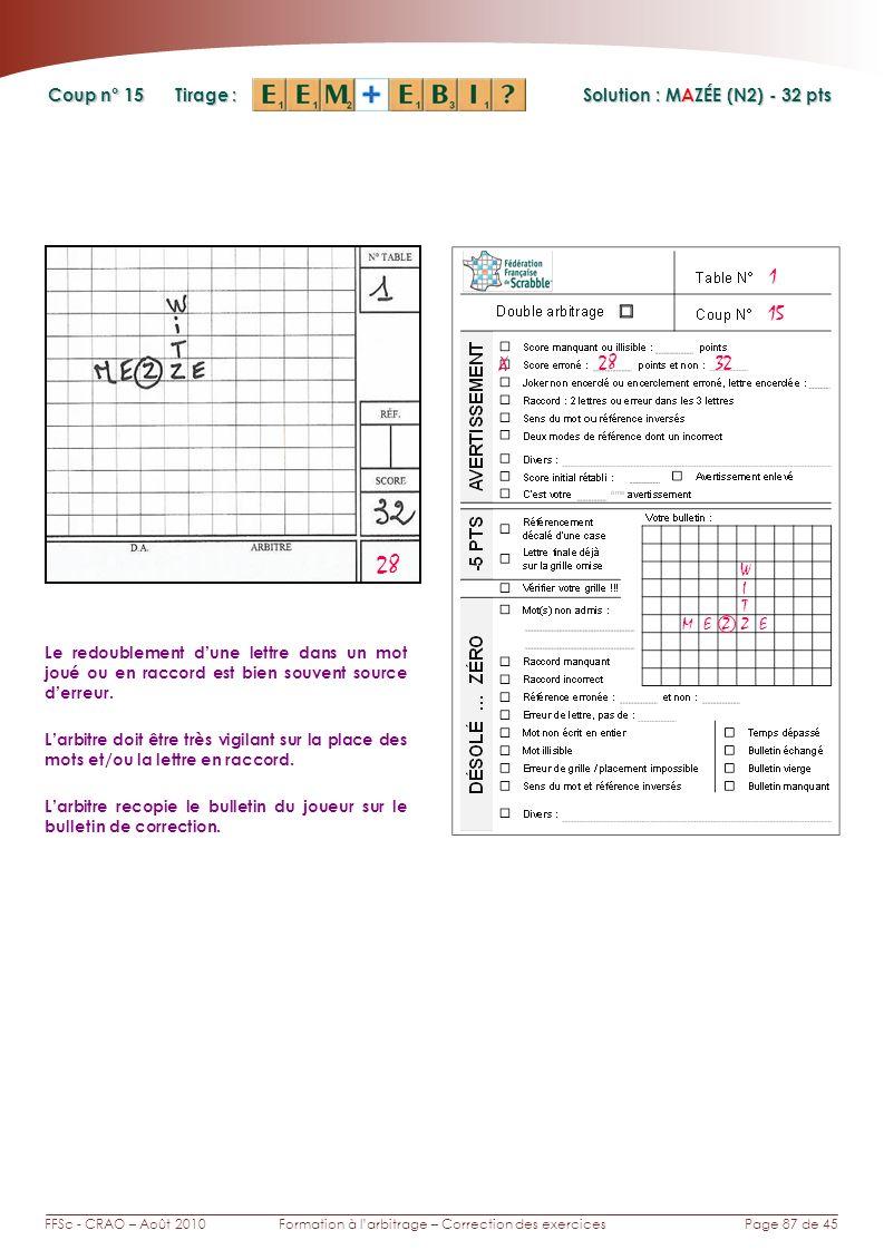 Page 87 de 45FFSc - CRAO – Août 2010Formation à larbitrage – Correction des exercices Coup n° Tirage : 15 Le redoublement dune lettre dans un mot joué
