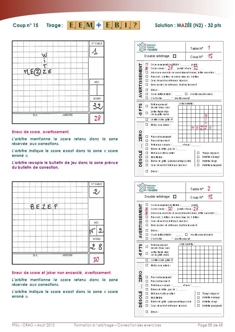 Page 88 de 45FFSc - CRAO – Août 2010Formation à larbitrage – Correction des exercices Coup n° Tirage : Solution : MAZÉE (N2) - 32 pts 15 2 1 28 30 X 28 32 MEZZE I Erreur de score, avertissement.