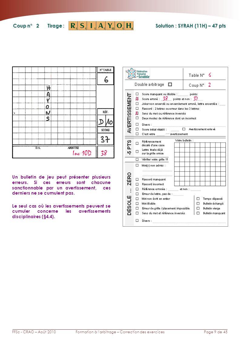Page 9 de 45FFSc - CRAO – Août 2010Formation à larbitrage – Correction des exercices Coup n° Tirage : 2 Un bulletin de jeu peut présenter plusieurs erreurs.