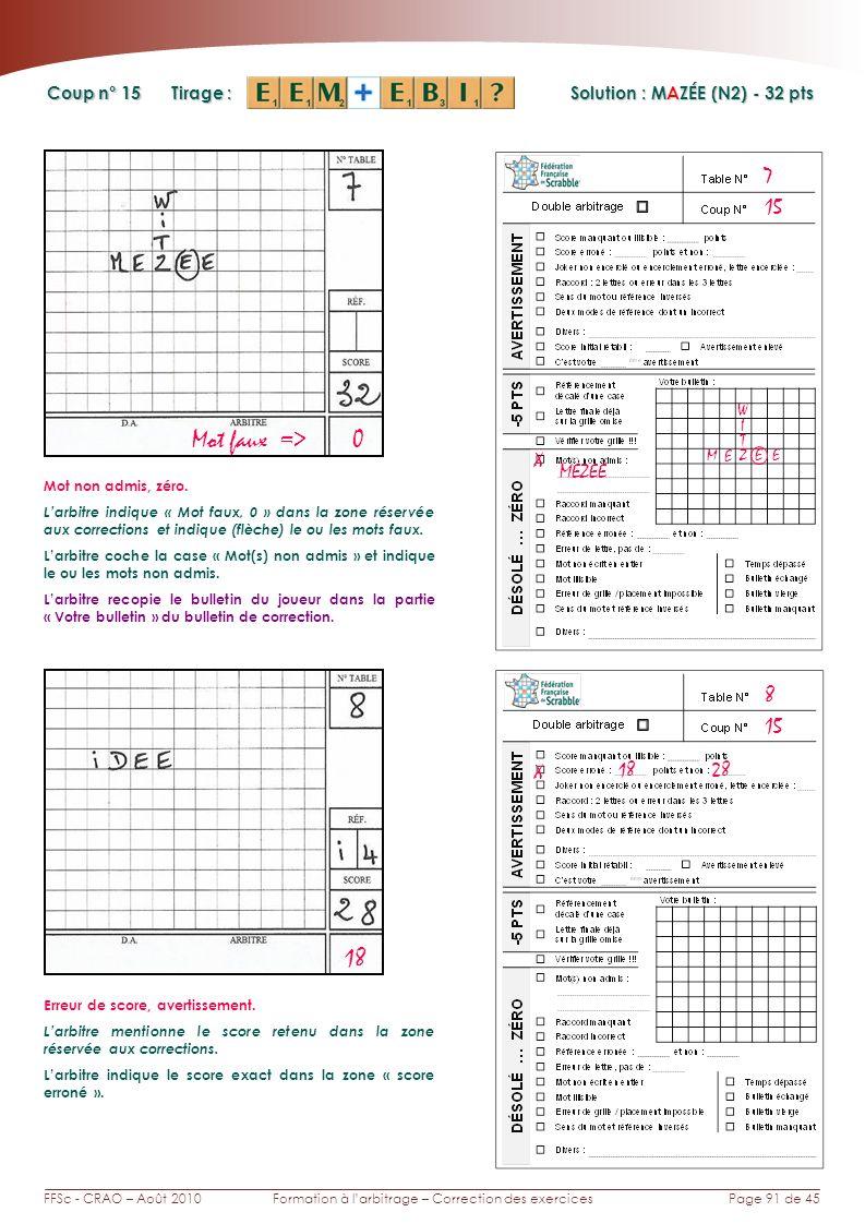 Page 91 de 45FFSc - CRAO – Août 2010Formation à larbitrage – Correction des exercices Coup n° Tirage : Solution : MAZÉE (N2) - 32 pts 15 8 7 18 Mot faux => 0 X MEZEE T M E Mot non admis, zéro.