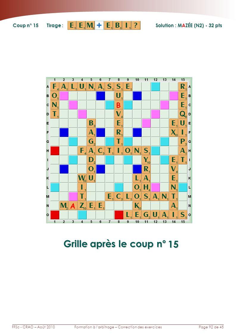Page 92 de 45FFSc - CRAO – Août 2010Formation à larbitrage – Correction des exercices Coup n° Tirage : Grille après le coup n° Solution : MAZÉE (N2) - 32 pts 15 15