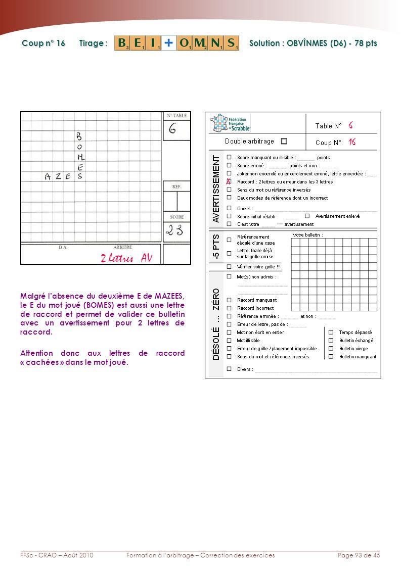 Page 93 de 45FFSc - CRAO – Août 2010Formation à larbitrage – Correction des exercices Coup n° Tirage : 16 Malgré labsence du deuxième E de MAZEES, le