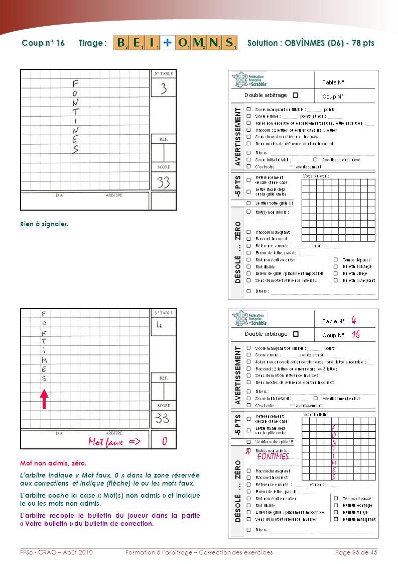 Page 95 de 45FFSc - CRAO – Août 2010Formation à larbitrage – Correction des exercices Coup n° Tirage : Solution : OBVÎNMES (D6) - 78 pts 16 4 Rien à s