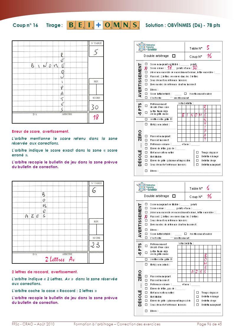 Page 96 de 45FFSc - CRAO – Août 2010Formation à larbitrage – Correction des exercices Coup n° Tirage : Solution : OBVÎNMES (D6) - 78 pts 16 6 5 18 X 30 BINOM R Erreur de score, avertissement.