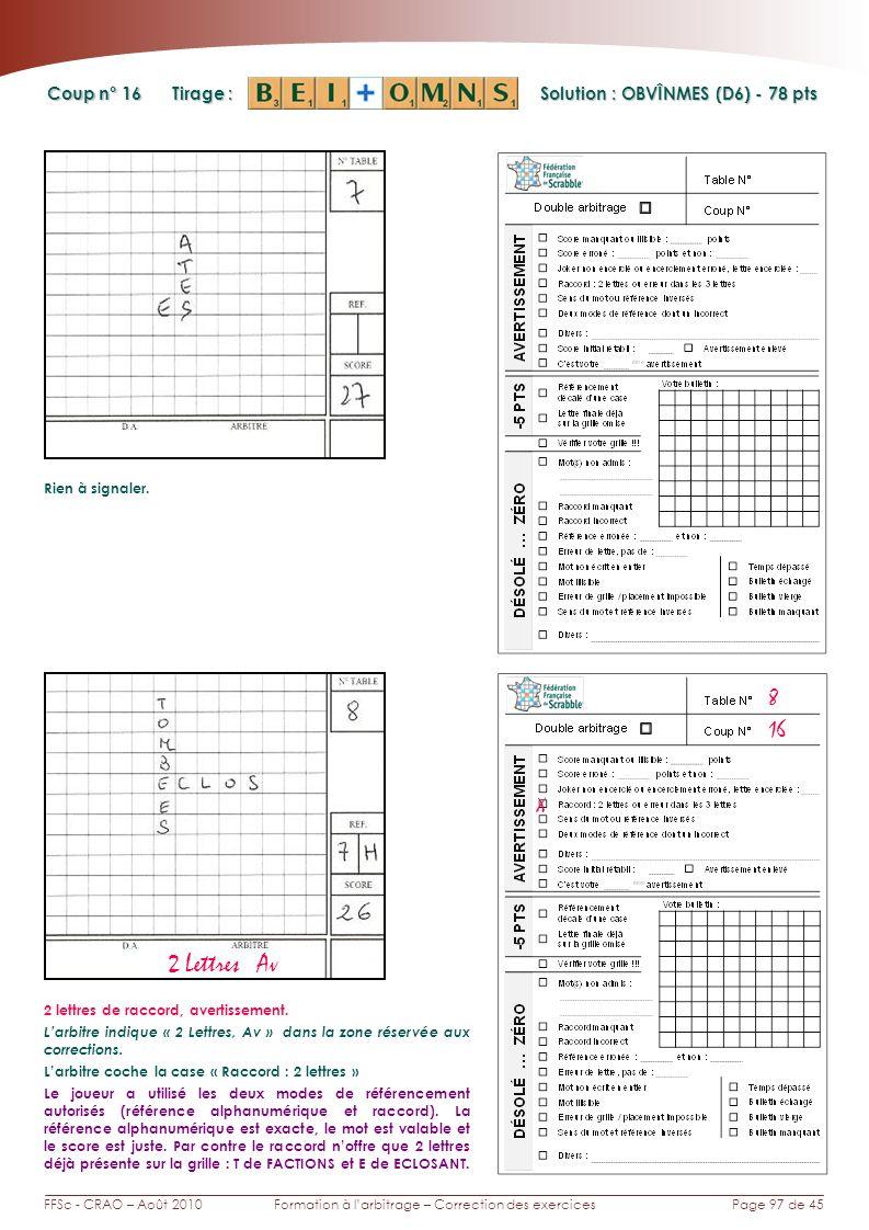 Page 97 de 45FFSc - CRAO – Août 2010Formation à larbitrage – Correction des exercices Coup n° Tirage : Solution : OBVÎNMES (D6) - 78 pts 16 8 Rien à signaler.