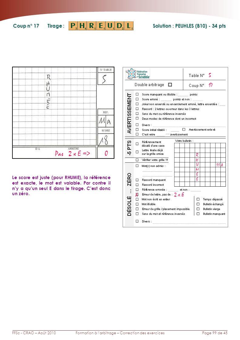Page 99 de 45FFSc - CRAO – Août 2010Formation à larbitrage – Correction des exercices Coup n° Tirage : 17 Le score est juste (pour RHUME), la référence est exacte, le mot est valable.