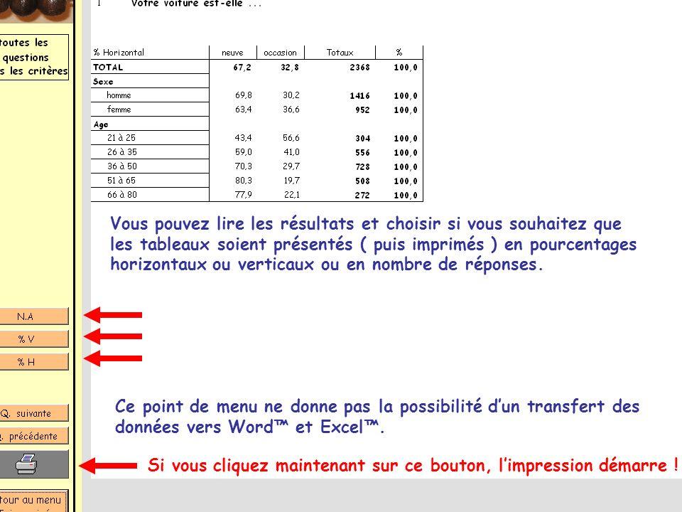 31 Vous pouvez lire les résultats et choisir si vous souhaitez que les tableaux soient présentés ( puis imprimés ) en pourcentages horizontaux ou vert