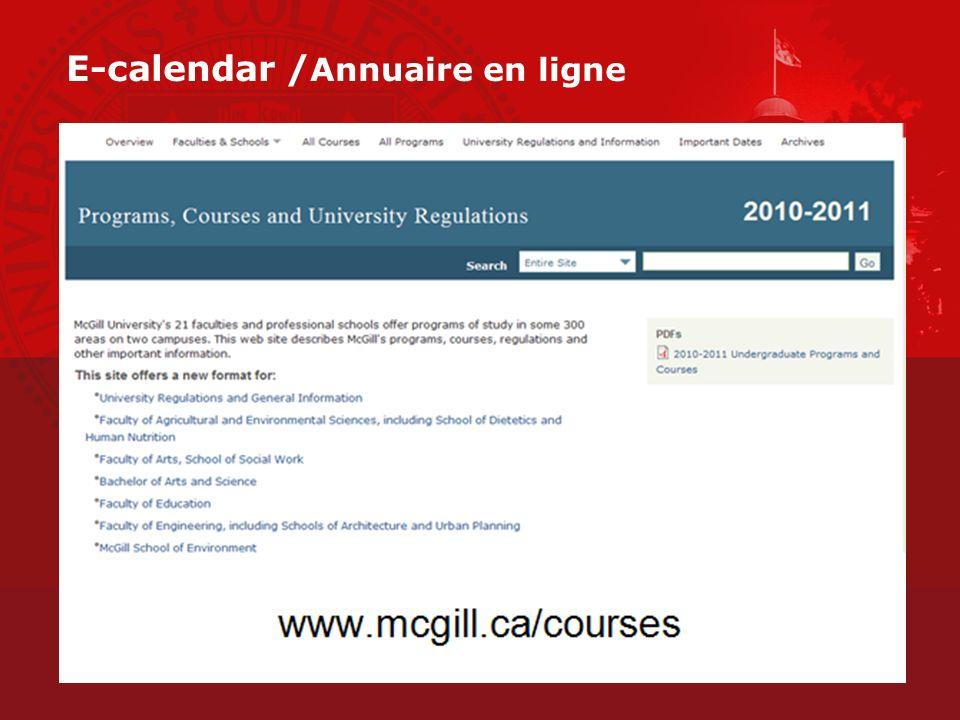 E-calendar / Annuaire en ligne