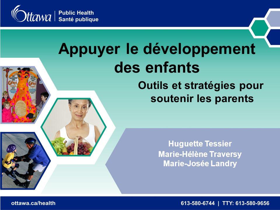 Appuyer le développement des enfants Outils et stratégies pour soutenir les parents Huguette Tessier Marie-Hélène Traversy Marie-Josée Landry