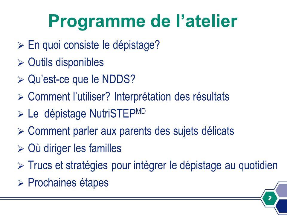 2 Programme de latelier En quoi consiste le dépistage? Outils disponibles Quest-ce que le NDDS? Comment lutiliser? Interprétation des résultats Le dép