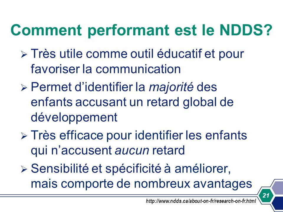 21 Comment performant est le NDDS? Très utile comme outil éducatif et pour favoriser la communication Permet didentifier la majorité des enfants accus