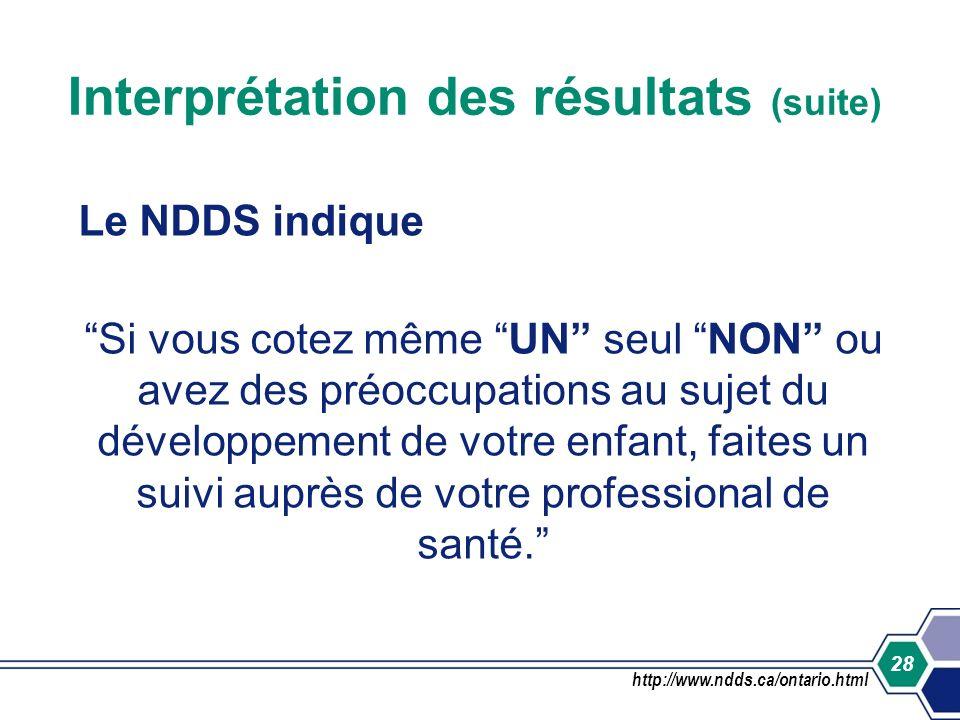 28 Interprétation des résultats (suite) Le NDDS indique Si vous cotez même UN seul NON ou avez des préoccupations au sujet du développement de votre e